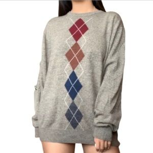 Neutral Toned Diamond Patterned Sweater